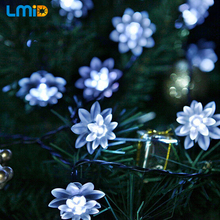 Lmid 4.8M 15.7FT 20LEDs Lotus Flower Solar Lamp Garden Waterproof Decoration Fairy Holiday Christmas Solar LED Light