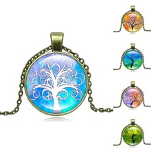 Vintage Jewelry Bronze Plated with Tree of Life Shaped Glass Cabochon Choker Long Pendant Necklace for Women Gift