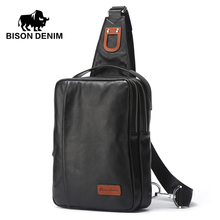 BISON DENIM Small Chest Bag Genuine Leather Ipad ProMens Crossbody Bags Black Soft Cowhide Casual Chest Sling Bag For Male N2425(China)