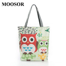 Buy 2017 Floral Owl Printed Canvas Tote Female Casual Beach Bags Large Capacity Women Shopping Bag Daily Use Canvas Handbags H45 for $6.98 in AliExpress store
