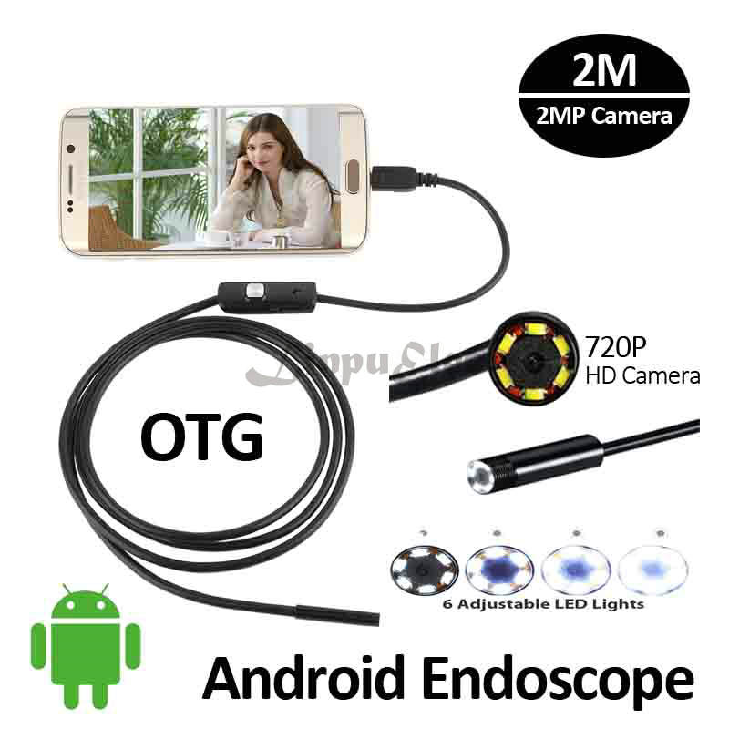 HD720P Android USB Endoscope 2MP Camera 8mm 2M Flexible Snake Inspection IP67 Waterproof Andorid Phone USB Borescope Camera 6LED<br><br>Aliexpress