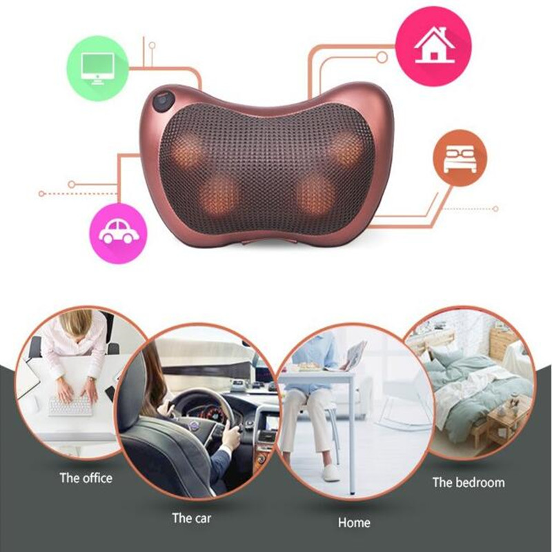 2 in 1 Car Home Infrared Body Massage Pillow neck cervical traction massager cushion seat anti stress pain relef relax massage<br>