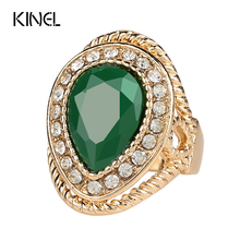 2015 New Fashion Wedding Ring Gold Color Green Stone Gift Crystal India Jewellery Wholesale