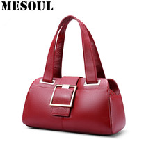 Woman Handbags Designer Genuine Leather Bag Fashion Boston Shoulder Bags Female Purse Blue/Red Tote Cow Leather Top-handle bags(China)