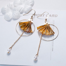 "8SEASONS Origami Women Drop Earrings Washi Japanese Paper Fan Round Imitation Pearls 8.5cm(3 3/8"") x 3.2cm(1 2/8""), 1 Pair(China)"