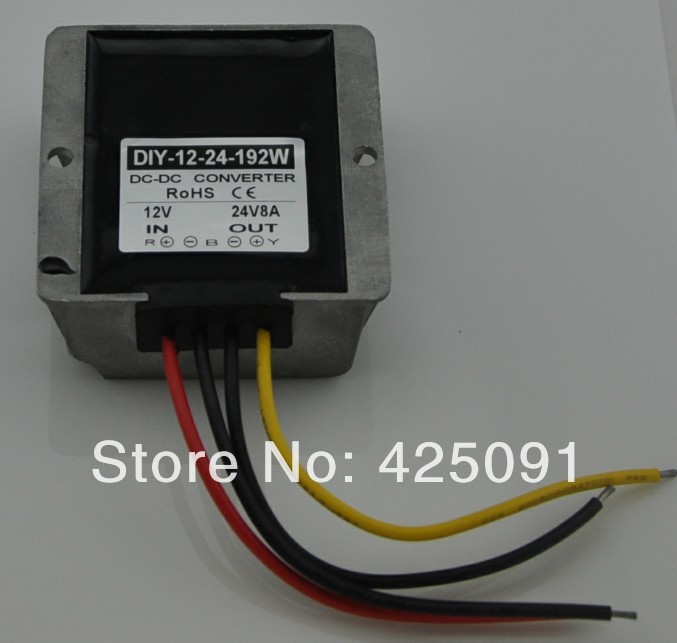 Converter DC 12V (9V-23V)  Step up to 24V 8A 192W Waterproof DC/DC Regulator RoSH CE<br>