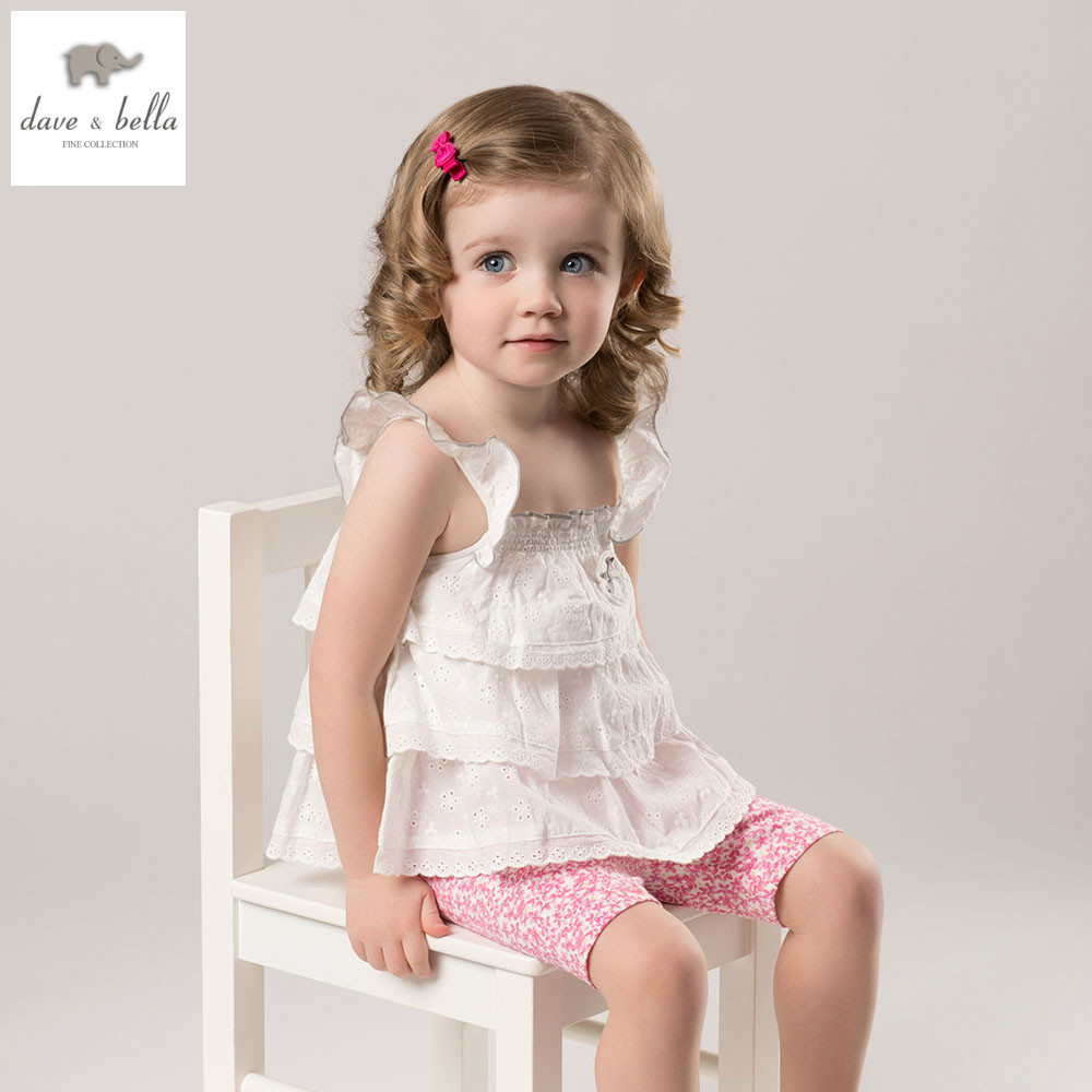 DB5179 dave bella summer baby girls white clothing sets kids lovely sets toddle cloth kids sets baby fancy clothes<br>