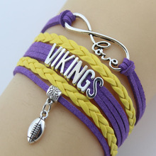 (10 Pieces/Lot) Infinity Love Vikings Bracelets Football Charm Handmade Rope Leather Weave Bangles For Women Men Jewelry Custom(China)