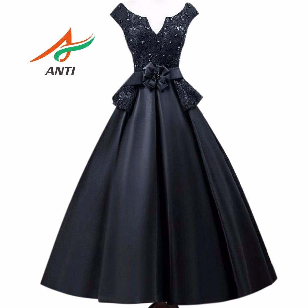 ANTI 2018 Vintage Black Cocktail Dresses Robe De Vestidos De Coctel Evening Party Short Gowns For Graduation Sweet 16 Years