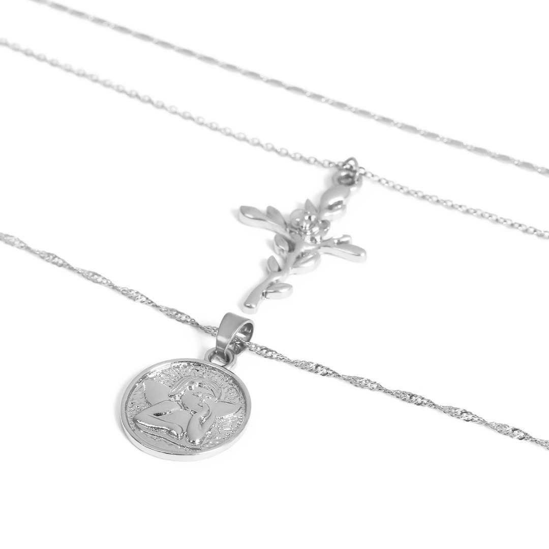 Vintage Silver Gold Long Choker Necklace Charm Leaf Cross Pendant Metal Necklace Shellhard Punk Jewelry For Women Valentine Gift