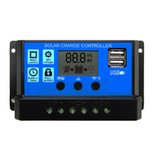 60A/50A/40A/30A/20A/10A 12 v 24 v Auto Solar Laadregelaar PWM met LCD Dual USB 5 v Output Zonnepaneel Regulator PV Thuis(China)