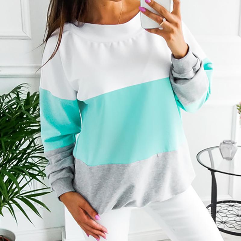 Sweatshirt, Women's Sweatshirt Patchwork Pullover 23