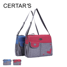 CERTAR'S Baby Nappy Bags Diaper Bag Mother Shoulder Bag Maternity Mummy Handbag Waterproof Baby Stroller Large Messenger Bags(China)