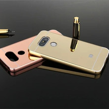 Hot Selling Etui mirror case For LG K5 X220 Q6 Aluminum Frame + Hard PC Plating Back Cover Metal Phone house for LG K5 Q6 X220