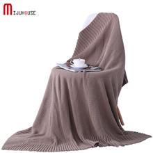 HOT Solid Minimalist Style Knitted Blanket Winter Adult Picnic Travel Airplane Cotton And Acrylic Fibres Blending Thread Blanket(China)