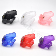 Buy Perforated Design Cage Penis Ring Sleeve 5 Plastic Locks Male Chastity Device Brass Built-in Lock Adult Sex Toys Men
