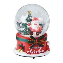 WR Wedding Decor Crystal Ball Music Box Castle Lovely Santa Claus & Christmas Tree Round Snow Ball Gifts for Home Decor 12.5X7cm(China)