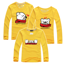 New 2016 Cartoon Bear More Color Baby Boys Girls Long Sleeve T shirts Mother & Kids Children's Clothing Family Matching Outfits