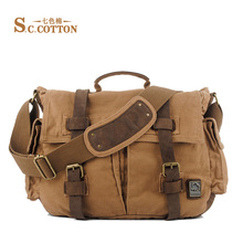 S.C.COTTON Multi-function Vintage Canvas Leather Business Tote Bag Travel Shoulder Messenger Bag Video Portable Carry Case