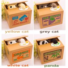 2017 Hot Sale Automated Cat Steal Coin Bank 1PCS Piggy Bank Moneybox Money Saving Box Gifts digital coin jar alcancia cofre(China)