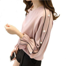 Buy Plus Size Chiffon Shirt Female 2018 Fashion Blusa Beaded Tops Autumn Long-sleeved Solid Color Women Blouse Women Clothing for $4.70 in AliExpress store