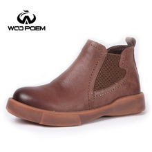 WooPoem Brand 2017 Winter Shoes Woman Genuine Leather Chelsea Boots Platform Flat With Low Heel Ankle Boots Women Boots 1895(China)