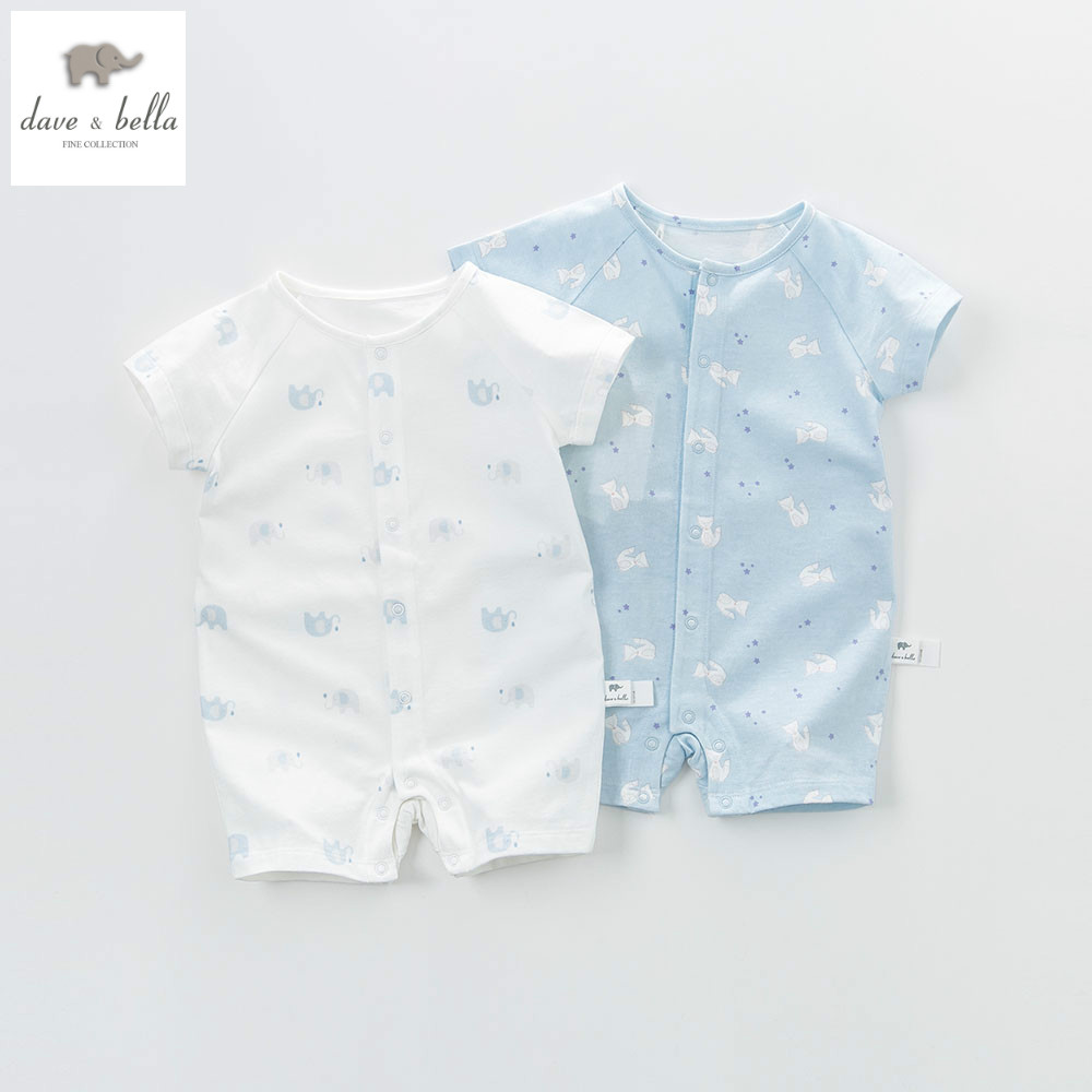 DB5855 dave bella summer new born baby cotton romper 2 piece animal printed romper infant clothes romper baby  <br>