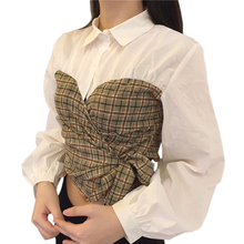 Korean Fashion Spring Summer Women Plaid Shirt Long Sleeve Bow Tie Patchwork Puff Sleeve White Blouse Slim Short Crop Top Female