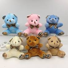 1Pcs 9CM Cute Stuffed Sitting Teddy Bear With Grid Bow Tie Plush Toys  Urso De Pelucia Oso Dolls cellphone bag key chain