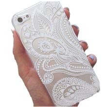Fashion Henna White Floral Flower Dirt Water Shock Proof  Plastic Light Weight Case Cover Elegant Skin For IPhone5S For IphoneSE