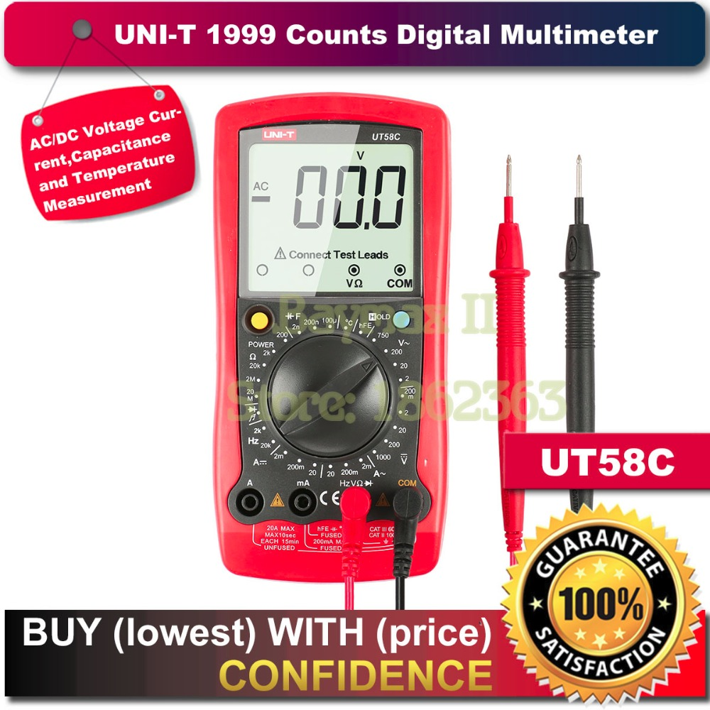 Uni-t UT58C Standard Electrical Digital Multimeter Volt Amp Ohm Hz Temperature Tester Meter<br>
