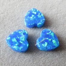50pcs/lot 8mm Double Flat Heart Opal OP05 Blue Heart Opal Drilled Synthetic Cabochon Heart Opal for Opal Necklace & Bracelet