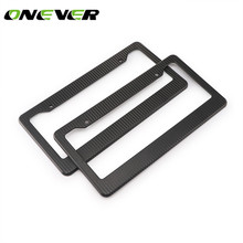 "Onever 2pcs 12*6"" Front Rear Carbon Fiber License Plate Frame Tag ABS Plastic Car License Cover Holder for Auto-Car-Truck(China)"