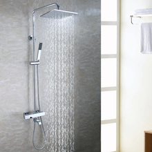 Bath Tub Exposed Shower Faucet Set 10 Inch Bathroom Rain Shower Head Brass Hand Shower Holder Thermostatic Bath Mixer Valve