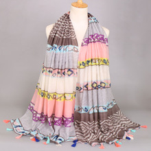 5pcs/lot Newest viscose tassels Shades Striped shawls women echarpe elegant Muslim wrap Long scarves/scarf 180*100cm(China)