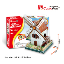 Cubic Fun DIY Paper Puzzle 3D Toy Educational Handmade Puzzles Solar Powered Windmill Cardboard Model Kids Toys Christmas Gifts