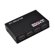 20pcs/lot New HDMI Splitter 1X4 4 Port Hdmi Hub Repeater Amplifier 1.4 3D 1080p 1 in 4 out With Power Supply Retail Package(China)