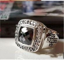 New Thai silver men and women wide surface ring 925 sterling silver black onyx ring classic ring Justin