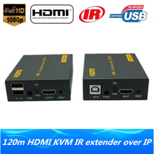 High Quality IP Network HDMI USB Keyboard Mouse KVM Extender 120m Over TCP IP 1080P HDMI KVM IR Extender Via RJ45 Cat5e/6 Cable(China)