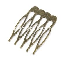 DoreenBeads 30 Bronze Tone Comb Shape Hair Clips 39x26mm (B14362)