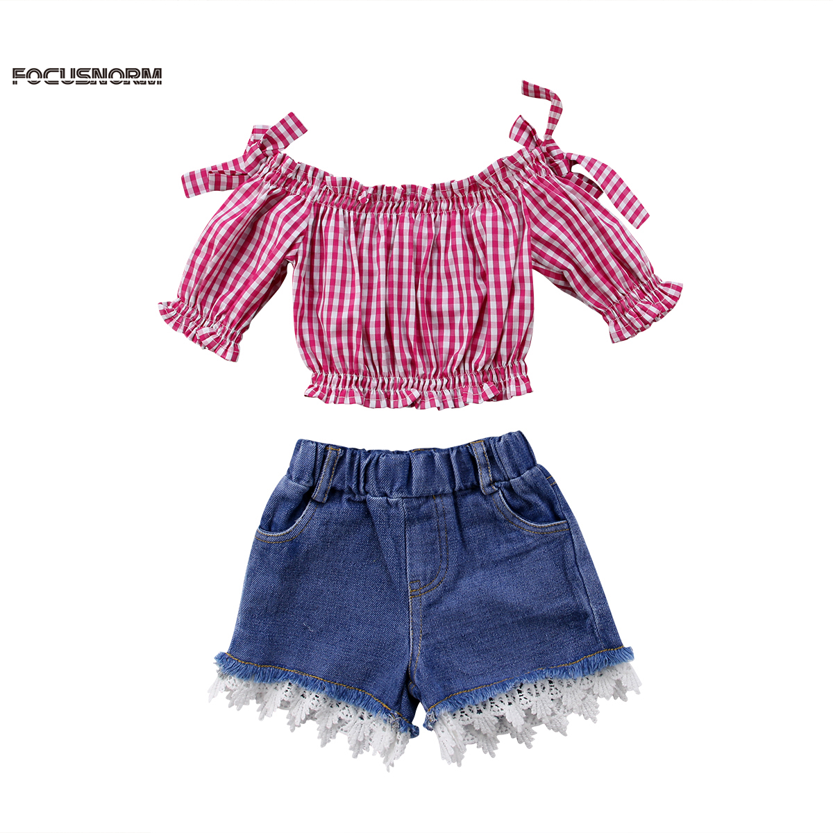 2Pcs Infant Toddler Baby Girls Off Shoulder Fly Sleeve Floral Top Shorts Pants Sets Summer Outfit Twins Clothes