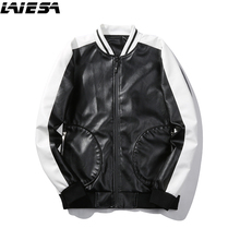 LIESA New 2017 PU Leather Jackets Men Fashion Slim Fit Pilot Jacket Men's Synthetic Leather Coat Winter Male Jackets(China)