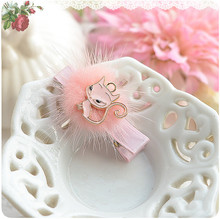 Pearl Flower Golden Crown Faux Fur Cat Baby Girls Hair Clip Hairpin Hair Accessories Kids Children Headwear kk1201