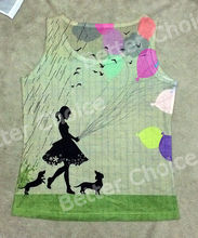 Track Ship+Vintage Vest Tanks Tank Tops Camis Little Flower Girl with Dachshund Dog Coloful Balloon Rain 0437