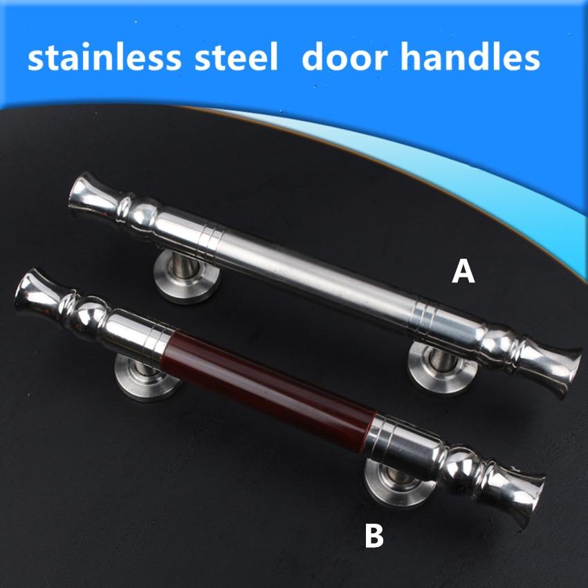 modern simple stainless steel unfold install wooden door handles Sliding door double acting door doorhandles pulls 295MM<br>