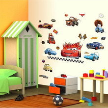 100*60cm Pixar cars stickers Children cartoon wall sticker kids room vinyls removable home decal for walls mural Nursery art