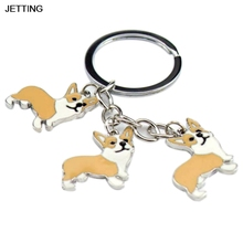 JETTING 1Pc Corgi Dog Figure Dogs Key Ring Shape Cheap Lovely Keychain Car Keyring Very Key gift Car Accessories(China)