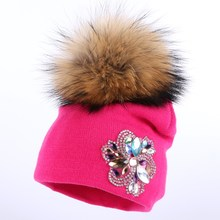 wholesale boy girl children fashion winter hat cute mink pompom baby skullies cotton floral colorful child kids brand beanies(China)