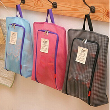 High Quality Fashion Polyester  Travel Portable Tote Shoes Pouch Foldable Mesh Shoes Storage Bag Travel Clothing Storage Bag