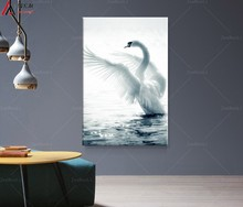 1 Panel Modern fashion White Swan Animal Picture Wall Decor painting Canvas Print on the wall Modular Poster Artwork Living Room